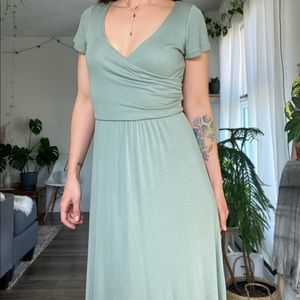 Gorgeous sage dress - ribbed jersey wrap front
